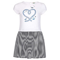 Yumi Girl - white Nautical Stripe Rope Dress