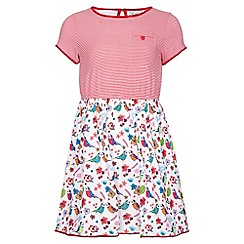 Yumi Girl - multicoloured Stripe Bird Short Sleeve Dress