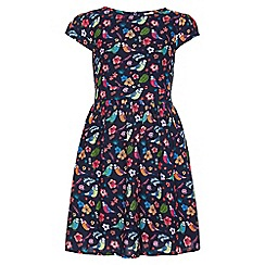 Yumi Girl - blue Bird Print Short Sleeve Party Dress