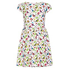 Yumi Girl - white Bird Print Short Sleeve Party Dress