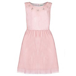Yumi Girl - pink Embellished Mesh Sleeveless Dress
