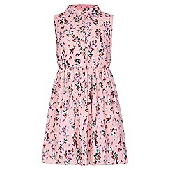 Yumi Girl - pink Floral Sleeveless Shirt Dress
