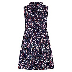 Yumi Girl - blue Floral Sleeveless Shirt Dress