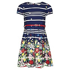 Yumi Girl - Navy Floral Stripe Belted Dress
