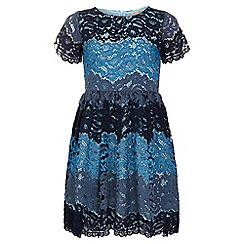 Yumi Girl - navy Lace Stripe Short Sleeve Dress
