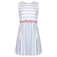 Yumi Girl - blue Stripe Sleeveless Belt Dress