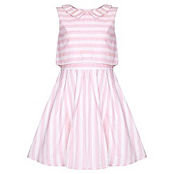 Yumi Girl - pink Candy Stripe Collar Dress
