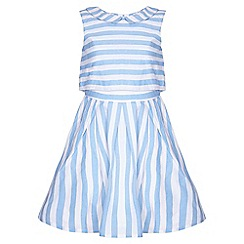 Yumi Girl - blue Candy Stripe Collar Dress