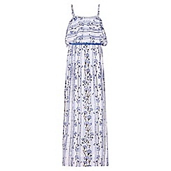 Yumi Girl - blue Floral Print Belted Maxi Dress