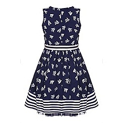 Yumi Girl - Girls' blue swallow sleeveless skater dress