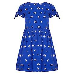 Yumi Girl - blue Gold Foil Flamingo Skater Dress