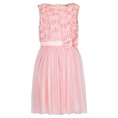 Yumi Girl - Pink 3D Rose Top Prom Dress