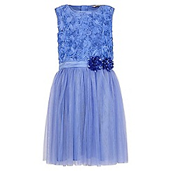 Yumi Girl - blue 3D Rose Top Prom Dress