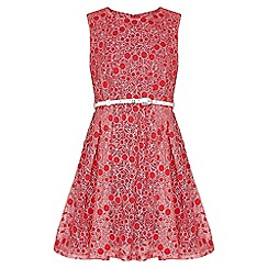 Yumi Girl - red Cherry Lace Belted Dress