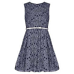 Yumi Girl - navy Cherry Lace Belted Dress