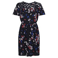 Yumi Girl - Navy Floral Lace Detail Dress