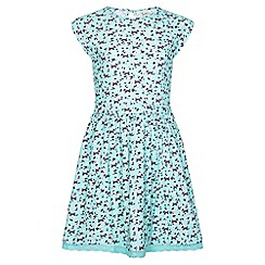Yumi Girl - green Dog Print Lace Hemline Dress