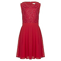 Yumi Girl - red Sequin Collar Party Dress