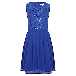 Yumi Girl - blue Sequin Collar Party Dress