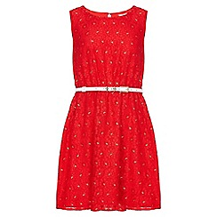 Yumi Girl - red Metallic Daisy Lace Belted Dress