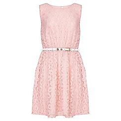 Yumi Girl - pink Metallic Daisy Lace Belted Dress