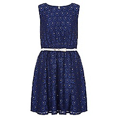 Yumi Girl - navy Metallic Daisy Lace Belted Dress