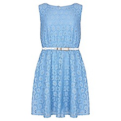 Yumi Girl - blue Metallic Daisy Lace Belted Dress