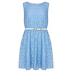 Yumi Girl - blue Metallic Daisy Lace Belted Dress