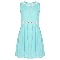Yumi Girl - green Floral Embellished Lurex  Stripe Dress