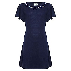Yumi Girl - Navy Embellished Short Sleeve Knit Dress