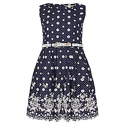 Yumi Girl - Navy Embroidered Spot Dress