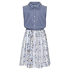 Yumi Girl - blue Floral Shirt Dress