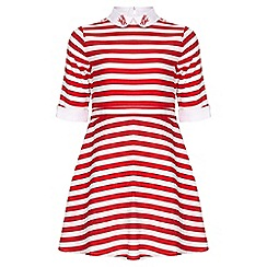 Yumi Girl - red Nautical Stripe Collar Dress