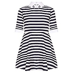 Yumi Girl - blue Nautical Stripe Collar Dress