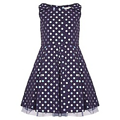 Yumi Girl - navy Spot Sleeveless Party Dress
