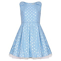 Yumi Girl - blue Spot Sleeveless Party Dress