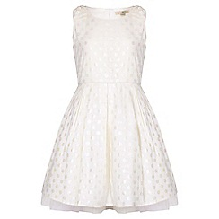Yumi Girl - ivory Spot Sleeveless Party Dress