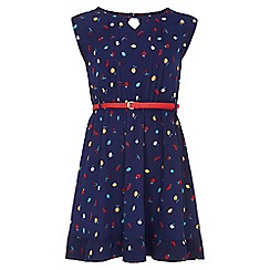 Yumi Girl - navy Fruit Print Belted Dress