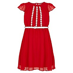 Yumi Girl - red Floral Embroidered Skater Dress