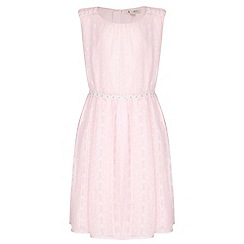 Yumi Girl - pink Daisy Trim Lurex Spot Dress