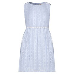 Yumi Girl - blue Daisy Trim Lurex Spot Dress