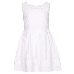 Yumi Girl - white Cotton Bow Detail Dress