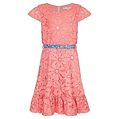 Yumi Girl - orange Floral Lace Frill Belted Dress