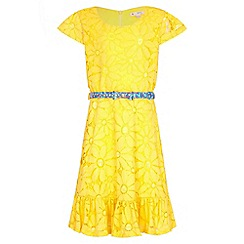 Yumi Girl - yellow Floral Lace Frill Belted Dress