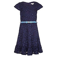 Yumi Girl - navy Floral Lace Frill Belted Dress