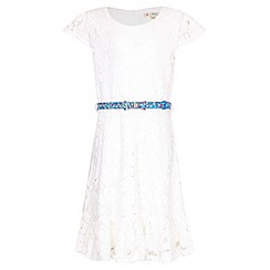 Yumi Girl - white Floral Lace Frill Belted Dress