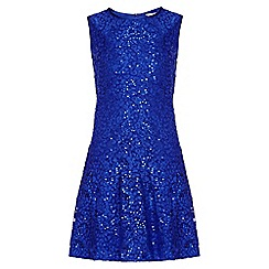 Yumi Girl - blue Drop Waist Embellished Lace Dress