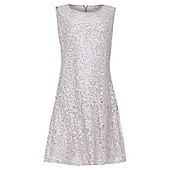 Yumi Girl - grey Drop Waist Embellished Lace Dress