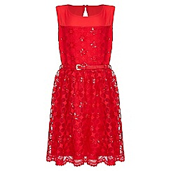 Yumi Girl - Red Flower Embroidered Prom Dress