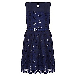 Yumi Girl - navy Flower Embroidered Prom Dress